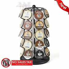 New Keurig 35 K Cups Pod Carousel Holder Coffee Storage Organizer Cup Rack Black