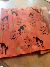 Vintage Dennison ?  Cats Pumpkins Crepe Paper Panel Halloween Runner Huge