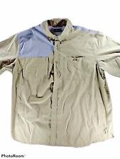 Orvis Men Khaki Grey Padded Hunting Short Sleeve Shirt Cotton XXL Pockets Mesh