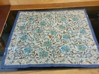"ECHO Square Scarf (20"" x 20"") Beige with blue & Brown flowers"