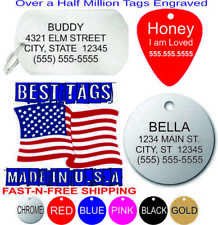 Custom Engraved Pet ID Tags for Dogs & Cats Round & Dog Tag Shape - Made in USA