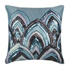 Blue 16x16 inch Decorative Pillow Cover Silk, Beads Sequins - Blue Mahal