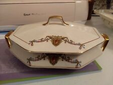 Vtg. F.C.Co French China Covered Casserole/Serving/Vegetable Dish Gold Medallion