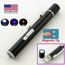 Flashlight Laser Pointer Usb Magnetic 4 in 1 Pen Military Rechargeable Red Uv