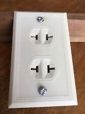 NEW OLD STOCK 1940's Paulding Ivory BAKELITE Double Outlet Wall Plate Combo Deco