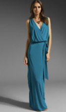 Haute Hippie Dress Maxi Long Sexy Aquamarine Belt Slit Side 100% Rayon Size XS