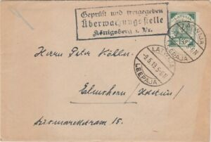 Latvia-1919 Konigsberg censored 15 kap green Leepaja letter cover to Germany