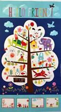 HELLO FRIEND TREEHOUSE MODA COTTON QUILT / WALLHANGING FABRIC PANEL