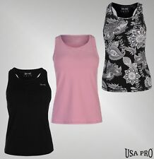 Ladies Designer USA Pro Gym Fitness Breathable PRO-Dry Top Racer Vest Size 6-18