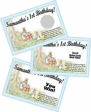 PETER RABBIT PERSONLIZED SCRATCH OFF OFFS PARTY GAME GAMES CARDS BIRTHDAY FAVORS