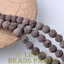 20pcs 10mm Round Lava Stone Natural Gemstone Loose Spacer Beads Deep Coffee