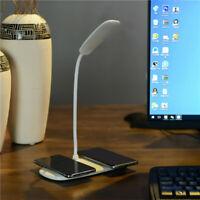 Qi Wireless Charger Induktions Ladegerät + LED Tisch-Leuchte Schreibtisch-Lampe