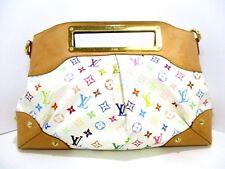 Authentic LOUIS VUITTON Monogram Multicolore Judy MM M40255 Blanc Handbag TH1049