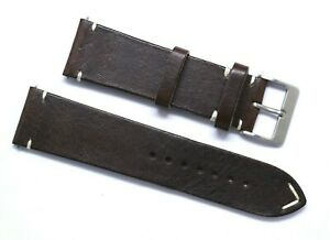 24mm Brown/White Leather Classic Style Mens Watch Band Handmade Silver Buckle