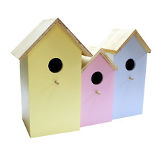 3x small Wooden Nesting Bird Box House Robin Blue Tits Sparrow