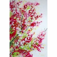 PINK CHERRY SAKURA Blossom on White Abstract Painting Modern Canvas