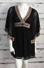 FLYING TOMATO~BLACK~TAUPE *FLORAL EMBROIDERY* HIPPIE TUNIC TOP-MINI DRESS~S