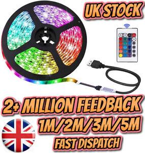 USB RGB LED Strip Lights Colour Changing Tape Under Cabinet Kitchen Lighting TV*