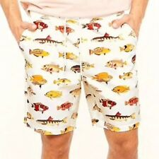 8a98afc9f2 Forever 21 MEN Fishing Fish Print Drawstring Casual Cotton Shorts White L  NEW