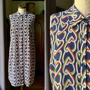 CABI 5370 Blue Heart Print Button Down Sleeveless Armour Dress Collar NWOT SMALL
