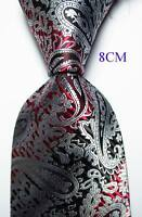 New Classic Paisley Black White Red JACQUARD WOVEN 100% Silk Men's Tie Necktie