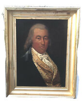 Antique Folk Painting Of Aristocratic 18th Century Oil On Canvas Portrait