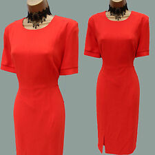 Whistles Coral Red Agnes Split Panel Crepe Cocktail Bodycon Dress UK 8 RRP £110