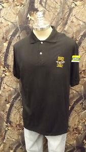 Vtg Golden Eagle Archery Black Polo Shirt by Stedman sz XL USA made Bow Hunting