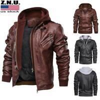 USA Men's PU Leather Bomber Jacket Hooded Motorcycle Coat Biker Zipper Outwear