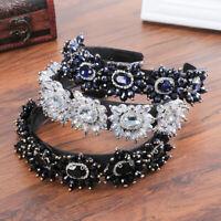 Ladies Vintage Crystal Baroque Headband Flower Hair Band Party Hair Accessories
