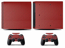 Red Carbon Fiber Vinyl Skin Sticker Cover for Sony PS4 Pro PlayStation 4 Pro