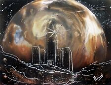 Space Spray Art Print with City in Brown by Jason Girard with matte supplies