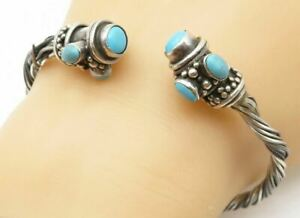 925 Sterling Silver - Vintage Turquoise Accented Twist Cuff Bracelet - B5036