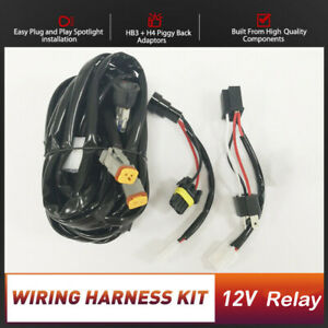 LED Light Bar Wiring Loom Harness Kit ON-OFF Switch 12v Relay H4 HB3 Adapter
