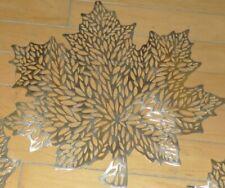 "New listing Set 4 Harvest Gold Maple Leaf cutout Placemats Nwt 17"" Vinyl Benson Mills"
