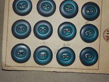 12 boutons anciens bleu  30 mm mercerie  B6