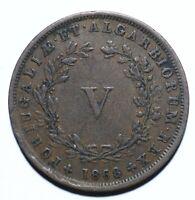 1868, Portuguese, 5 Reis, Luiz I, gVF, Copper, KM# 513 [Lot 1560]