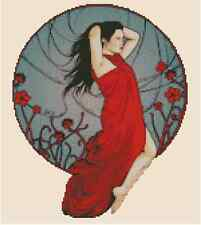 "Counted Cross Stitch ART DECO LADY in Red ""Free Spirit""  -COMPLETE KIT- #24-100"