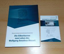Silberbarren-Kollektion ''W.A. Mozart''  Sammelbox mit dem ersten Barren