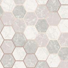 Metro Hex Geo Marble Wallpaper Metallic Grey / Cream / Rose Gold Crown M1507