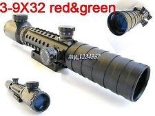 Rangefinder Reticle 3-9X32EG Red/Green Crosshair Scope Mount W 20mm Mount