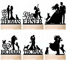 Family Wedding Cake Topper with Pet Dog Cat Personalised Toppers Decorations