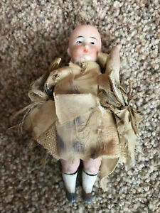 """Adorable 4"""" Antique Bisque Child German Character Girl Doll NR"""