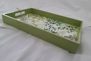 Michel Design Works Tuscan Grove Vanity Decoupage Wooden Tray Lacquered Sides