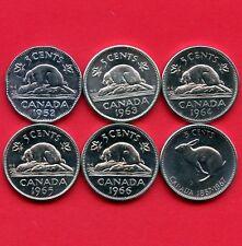 Canada 1952 1963 1964 1965 1966 & 1967 5 Cent Coins (High Grade)