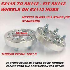 "2pc 25mm (1"" Inch) Wheel Adapters | 5x115 to 5x112 | 12x1.5 Studs | 70.3 CB"