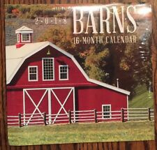 2018 BARNS 16-month MINI Wall Calendar SMALL Christmas barn country rustic