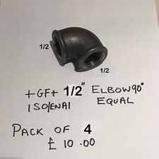 """More details for georg fischer 1/2"""" 90deg elbow  maleable iron  pack of 4"""