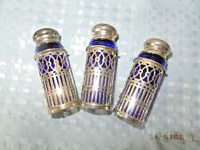 Shakers--Cobalt Blue Glass with Silver Holders