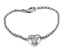 Gucci Flora Heart Motif Aureco Black Finish 925 Silver Bracelet YBA341953001 New